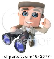 3d Hiker Explorer Bird Watching With Binoculars by Steve Young