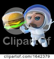 3d Spaceman Astronaut Looking At A Cheese Burger In Space