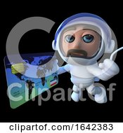3d Spaceman Astronaut Character Using A Debit Card In Space by Steve Young