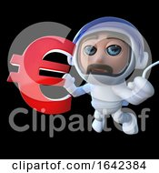 3d Spaceman Astronaut Holding A Euro Currency Symbol by Steve Young