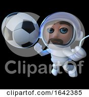 3d Spaceman Astronaut Character Playing Football In Space by Steve Young