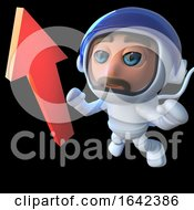 3d Spaceman Astronaut Looking At An Arrow In Space by Steve Young