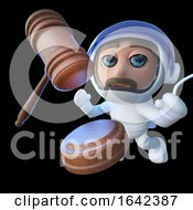 Poster, Art Print Of 3d Spaceman Astronaut Character With Auction Gavel In Space