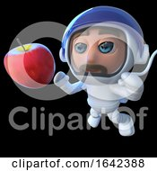 3d Spaceman Astronaut Looking At An Apple In Space by Steve Young