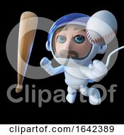3d Spaceman Astronaut Character With Baseball Bat And Ball In Space by Steve Young