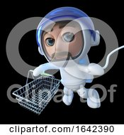 3d Spaceman Astronaut Character Holding A Shopping Basket by Steve Young