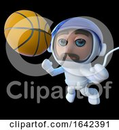 3d Spaceman Astronaut Character Chasing Basketball In Space by Steve Young