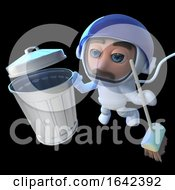 3d Spaceman Astronaut Looking At Trash Can And Broom In Space by Steve Young