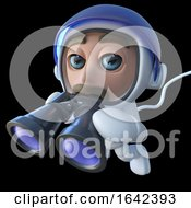3d Spaceman Astronaut Character Using A Pair Of Binoculars by Steve Young