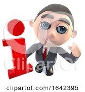 3d Cartoon Businessman Character Holding An Information Symbol