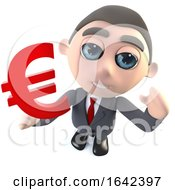 3d Businessman Character Holding A Euro Currency Symbol
