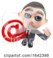 Funny 3d Cartoon Businessman Character Holding An Email Address Symbol Internet