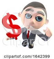 3d Businessman Character Holding A US Dollar Currency Symbol