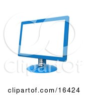 Blue Flat Screen Computer Monitor Screen Clipart Illustration Graphic by 3poD