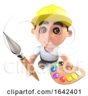 Poster, Art Print Of 3d Builder Construction Worker Holding A Paint Brush And Palette