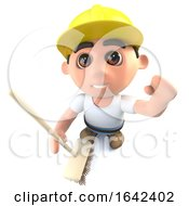 Poster, Art Print Of 3d Builder Construction Worker Character Cleaning With A Broom