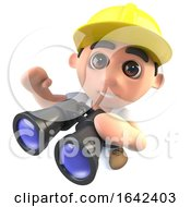 Poster, Art Print Of 3d Builder Construction Worker Character With A Pair Of Binoculars