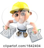 Poster, Art Print Of 3d Builder Construction Worker Character Holding Shopping Baskets