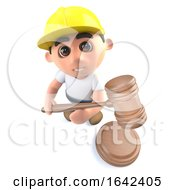Poster, Art Print Of 3d Builder Construction Worker Character Holding An Auction