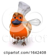 3d Cartoon Robin Bird Wears A Chefs Hat And Has A Whisk