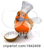 3d Cartoon Robin Bird In Chefs Hat Holding A Whisk