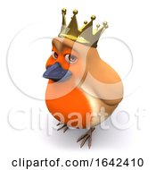 3d Cartoon Christmas Robin Bird Wears A Gold Royal Crown