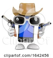 3d Smartphone Dressed As A Cowboy With Pistols by Steve Young