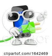 3d Smartphone Character Holding A Green Energy Power Lead