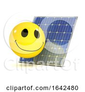 Poster, Art Print Of 3d Smiley Character Using A Solar Panel To Recharge
