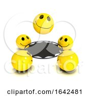 3d Smiley Bouncing On A Trampoline With His Friends