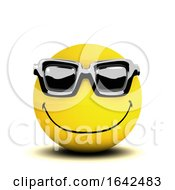 Poster, Art Print Of 3d Cool Smiley Character Wearing Sunglasses