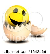 3d Smiley Character Hatching From An Egg