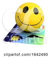 Poster, Art Print Of 3d Smiley Character Riding On A Credit Card