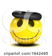 3d Funny Smiley Character Wearing A French Beret