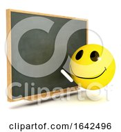 3d Funny Cartoon Smiley Character Teaching At The Blackboard