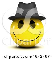 3d Smiley Character Wearing Cool Jazz Trilby Hat