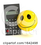 Poster, Art Print Of 3d Smiley Character Does Math With A Calculator