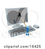 Blue Person An Illustrator Using A Paintbrush On A Flat Screen Computer Monitor To Create An Image Or This Could Be A Designer Designing A Website