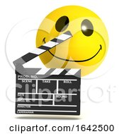 Poster, Art Print Of 3d Funny Cartoon Smiley Character Making A Movie With Film Slate