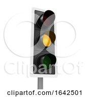 3d Traffic Light Shows Amber