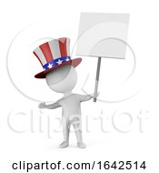 3d Cartoon Uncle Sam Character Holding A Blank Banner