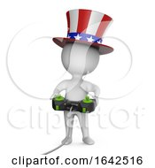 3d Cartoon Uncle Sam Character Plays A Videogame With Joystick Controller