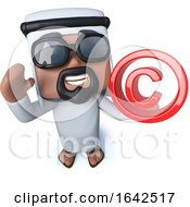 3d Arab Sheik Holding A Copyright Symbol