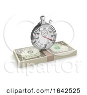 3d Time Is Money Stopwatch On US Dollars