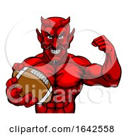 Devil American Football Sports Mascot Holding Ball by AtStockIllustration