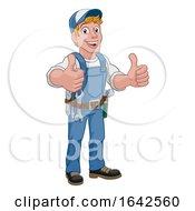 Poster, Art Print Of Handyman Cartoon Caretaker Construction Man