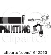 Cartoon Black And White Male Painter Using A Roller Brush Over Text