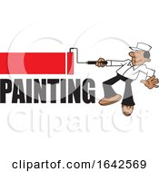 Poster, Art Print Of Cartoon Black Male Painter Using A Roller Brush Over Text