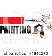 Cartoon White Male Painter Using A Roller Brush Over Text