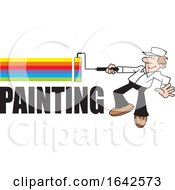 Cartoon White Male Painter Using A Roller Brush To Paint A Rainbow